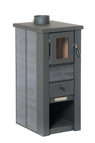 acerto 20111 LAVA Kaminofen Ceramic anthrazit mit Sichtfenster, 35x44x82 cm - Kompakter Premium Holzofen für kleine Räume mit 8,5kW Heizleistung