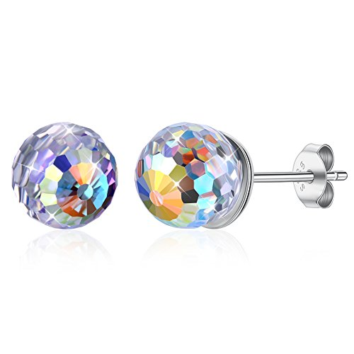 KNKN LEKANI Ohrringe, 925er Sterlingsilber, 6 mm, Kugelform, hypoallergen, hergestellt mit Swarovski-Kristall