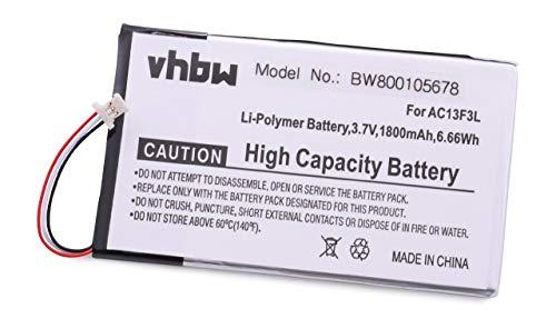 vhbw Batterie 1800mAh (3.7V) pour Tablette Acer Iconia Tab B1-710, B1-A71, B1-A71-83174G00nk remplace BAT-715(1ICP5/58/94), KT.0010G.002D.