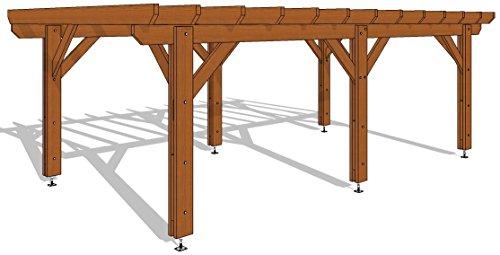 Pergola Plate traitée autoclave marron classe 3B 690/400 en KIT - 27 m2 - Livraison Offerte - Qualité supérieure, montage facile - Fabricant spécialiste de charpente bois 100% Française. (Marron)