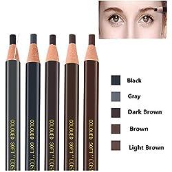 Pinkiou Lápices de cejas Peel-off Lápices Cejas de color Plumas Marrón, Marrón oscuro, Marrón claro, Negro Gris (paquete de 5)
