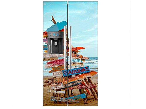 Vinilo Frigorífico Americano Señales Playa | 91x176cm | Varias Medidas | Pegatinas...