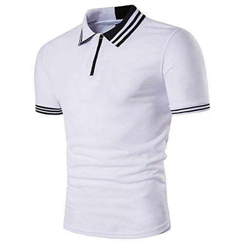 Glestore Herren Poloshirt Sommer Baumwolle Slim Fit Business Freizeit Botton-Down Weiss Grau Rot Blau S-XXL Weiß