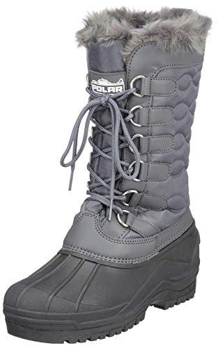 Damen Nylon Kaltes Wetter Im Freien Schnee Ente Winter Regen Pelz Cuff Lace Stiefel - Grau - GRE40 AYC0136