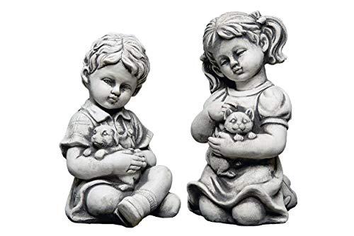 gartendekoparadies.de Statue en Pierre Massif pour garçon et Fille avec Animaux en Fonte de Pierre résistante au Gel