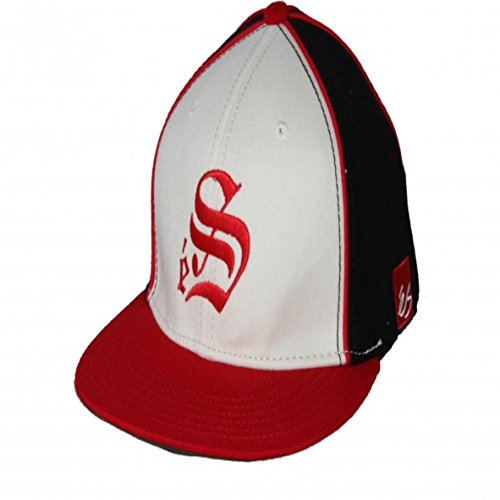 ES Footwear Skateboard A-Flex Fitted Cap Smooth Red/White/Black - Cappie Kappie, Cap Size:S/M (Industries Cap World)