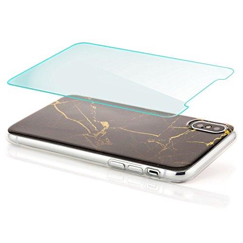 zanasta iPhone X Hülle + Panzerglas Silikon Case Schutzhülle Ultra Slim Back Cover mit Motiv Marmor-Blau-Gold Schwarz-Gelb