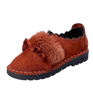 Shoeshaoge Femme Chaussures Fall Confort Mocassins & Amp; Slip-ons Plat Talon Bout Rond pour décontracté Vert kaki Marron Noir marron