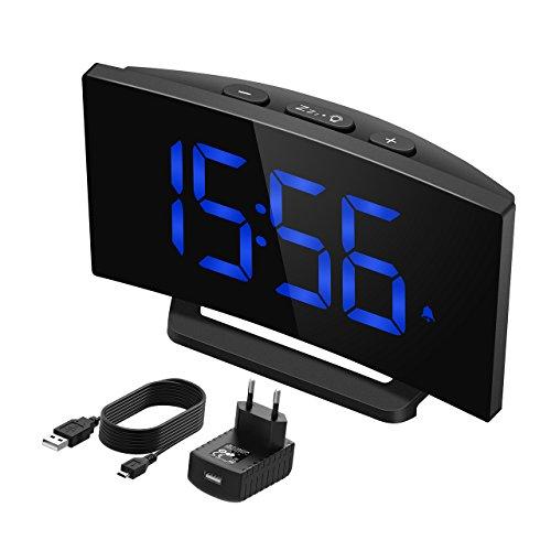 """Mpow Digitaler Wecker, Digitalwecker, 5\"""" LED-Display, Digitaluhr, Tischuhr, 3 Alarmtöne, 2 Lautstärke, 9\' Snooze, 6 Helligkeit, 30\' Klingelzeit, Datensicherung, USB-Ladeanschluss.(Adapter im Paket)"""