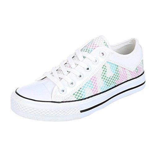 Ital-Design, Sneaker donna Multicolore (Bianco/Multicolore)