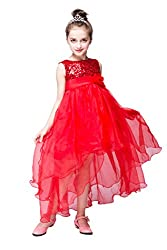 YMING Girls Sequin Tulle Cascading Crystal Organza Rhinestone White Party Dress