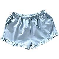 PRETYZOOM Pantalones Cortos Caseros Mujeres Pantalones Cortos de Algodón Casuales Pantalones Cortos de Playa de Verano Pantalones Cortos Sueltos Pantalones Cortos Pijamas para Dama (Talla L Azul)