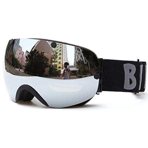 Huntvp® occhiali da sci per tutti maschera da sci professionali occhiali da snowboard traspiranti occhiali da pattinare comodi unisex protezione doppia lente uv anti-fog anti-nebbia anti-vento(argente)