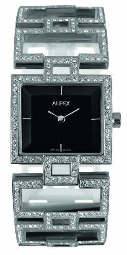 Alfex – 5685 _ 815 – Ladies Watch – Analogue Quartz – Black Dial – Steel Bracelet Grey