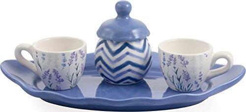 Galileo Casa Lavendel Espressotassen mit Tablett und Zucker-Set, Keramik, lila, 30x 18x 10cm