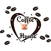 Wandtattoo Uhr mit Uhrwerk Wanduhr Küche Kaffee Spruch Coffee House (Uhr Kupfer//080 braun)