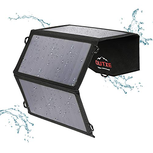 OUTXE 21W Solarladegerät SunPower Solar Panel mit 2-Port-USB-Ladegerät faltbares Tragbares Solarladegerät für iPhone X / 8/7 / iPad/Galaxy S10 / S8 Usb Solar Panel