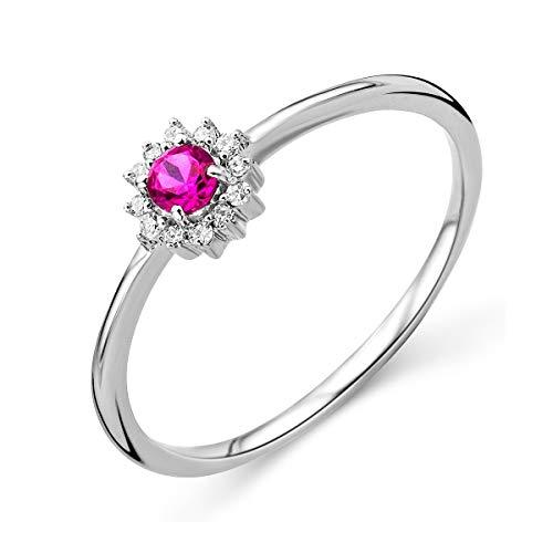 Miore Damen Weißgold Rubin Verlobungsring 9KT (375) mit Diamant Brillanten 0.05 ct