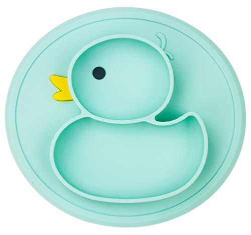 Baby Teller Rutschfeste Saugfütterungsplatte für Kleinkinder Babys Kinder Tischset mit Saugnäpfen BPA-frei, FDA-geprüft, Spülmaschinen-und mikrowellengeeignet (Cyan Ente)