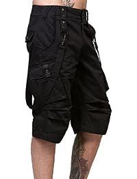 Herren knielange schwarze Hose mit Seitentaschen und grauen Nieten in verschiedenen Größen Queen of Darkness