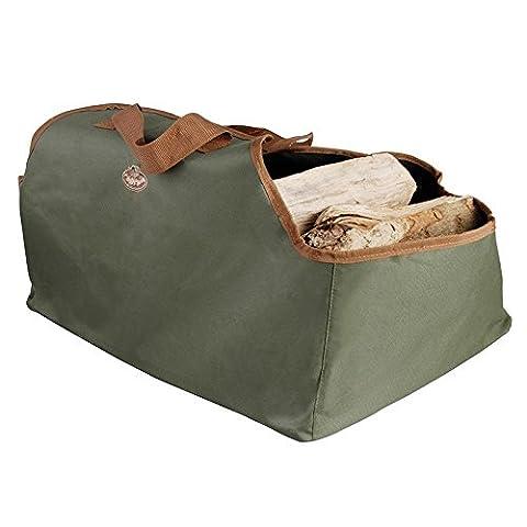 Esschert design sac de rangement et de transport pour bûches avec poignées vert 59 x 39 x 38 cm