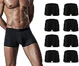 Boxer Homme Lot de 8 Caleçons Homme Coton Doux Boxer Respirant Boxers (S, Noir 8pc)