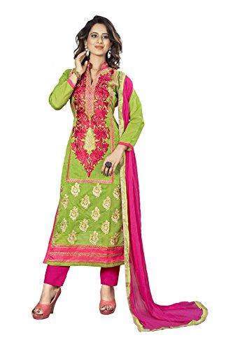 Priyavadhu Women's Chanderi straight Unstitched Salwar kameez Dress material (BLNR4004_Green_Free Size)
