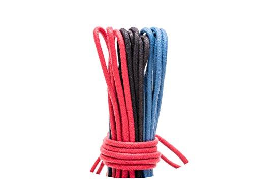 Loco!Laces- Gewachste, Bunte, Farbige, Runde Schnürsenkel für Business-Schuhe! 80cm Länge 3er Pack (Schwarz-Rot-Blau)