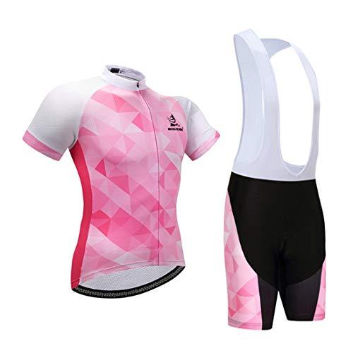 GWELL Damen Radtrikot Atmungsaktive Fahrradbekleidung Set Trikot Kurzarm + Trägerhose mit Sitzpolster für Radsport Rosa-Weiß M