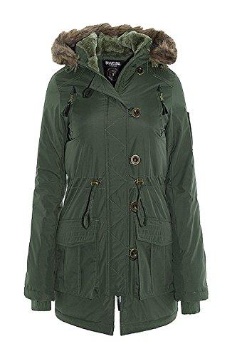 Brave Soul Damen Parka Jacke schwarz schwarz 34 Grün