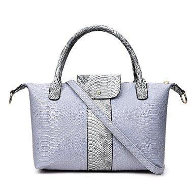 Borsa Donna imposta pu tutte le stagioni sportive formale informale magnetico Shell Grigio Nero Bianco Blu,grigio White
