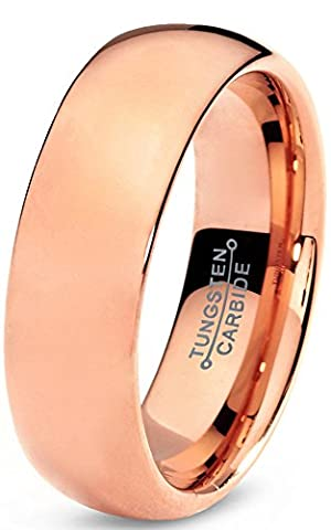 Tungsten Wedding Band Ring 7mm for Men Women Comfort Fit 18K Rose Gold Plated Domed Polished Lifetime Guarantee Size Z