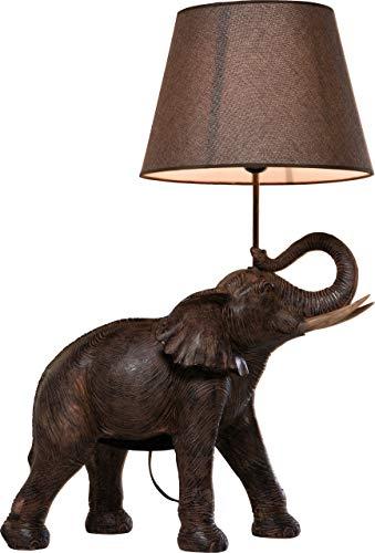Kare Tischleuchte Elephant Safari, 32775, moderne Design Nachttischlampen mit detailreichem Elefant, braun-beige (H/B/T) 73,5x52,3x33cm