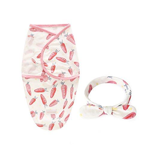 Baby Swaddle Blanket Wraps avec bandeau, 100% coton doux et réglable enveloppant bébé serviette enveloppante sac de couchage pour nouveau-né garçon fille enfants