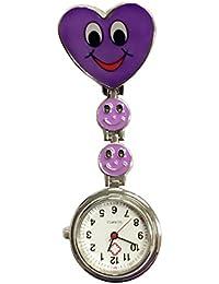 TrifyCore Reloj de Bolsillo médico del Reloj Especial de la Enfermera de la Cara del corazón de la Sonrisa púrpura