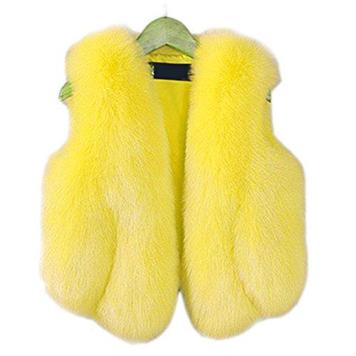 FOLOBE Kind Faux Fox Pelz Mantel Jacke Weste HEI?en Winter Warm Gilet Kinder Outwear Kurze schlanke Weste (Faux Mäntel Für Kinder Pelz)