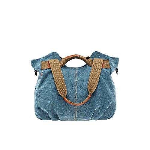 Yvonnelee Canvas Tasche Handtasche Henkeltasche Schultertasche Umhängetasche für Damen und Frauen Schulterriemen Abnehmbar - Braun Blau