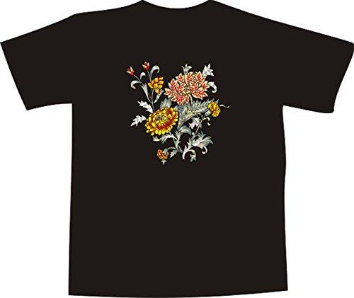T-Shirt E294 Schönes T-Shirt mit farbigem Brustaufdruck - Logo / Grafik - schöne Blumenranke mit großen bunten Blüten Schwarz