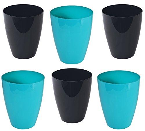 Lot de 6 pot de fleurs orchidées noir/turquoise-pot pour plante d'intérieur h-165 fensterbanktopf ø133 pot à orchidée