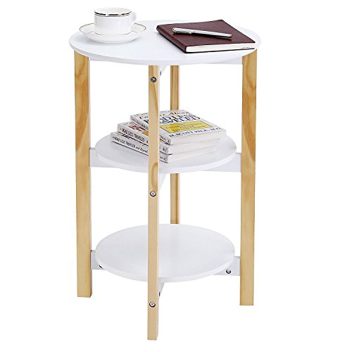horleora Table d'Appoint Design Table Basse Table café Ronde - 3 Plateaux - 4 Pieds(Blanc)