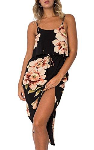 ECOWISH Damen Elegant Ärmellos Maxikleid Blumenmuster Sommerkleid Lang Schulterfrei Partykleider mit Schlitz 0870Schwarz L (Sexy Skirt Slit)