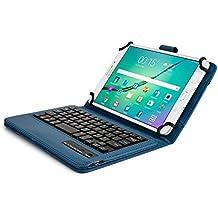 Custodia Samsung Galaxy Tab S2 8.0 Tastiera, Cover Tastiera COOPER INFINITE EXECUTIVE 2-in-1 Bluetooth Wireless Magnetica Protettiva Tablet Pelle A Libro Viaggio con Supporto (Blu Scuro)