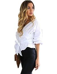 Amazon.es: hombro - Liso / Blusas y camisas / Camisetas, tops y blusas: Ropa