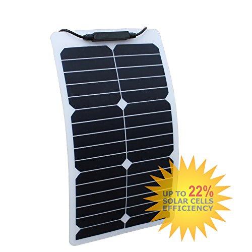 20W Flexibel Solar Panel aus Back-Contact Zellen mit robuster ETFE Beschichtung, für Wohnmobil, Wohnwagen, Wohnmobil, RV, Boot (Poly-beschichtung)