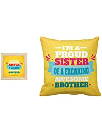 Yaya Cafe Birthday Bhaidooj Gifts for Brother, Proud Sister of a Freaking Awesome Brother 16x16 inches Cushion Cover with 6x6 inches Desk Clock Set of 2