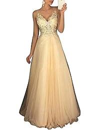 Vestido Mujer Elegante V Cuello Vestidos de Fiesta para Bodas Largos Vestidos de Noche