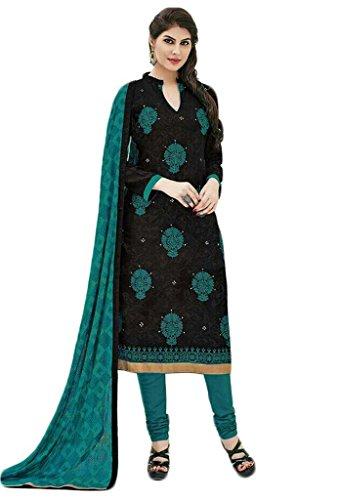 Manmandir Cotton Silk Dress Material / Salwar Suit for Women (Manjulika-561_Black)