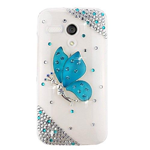 EVTECH(TM) Kristall Strasssteine Diamant Perle Blume Neu 3D DIY Handmade Bling Shining Glitter Transparent Protektiv Tasche Schutz Schale Harte Back Case Hülle Schutzhülle für Moto G (XT1031, XT1032, XT1033, XT1034) (G Fällen Moto Strass)
