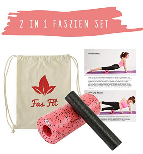 Faszien Fitness 2 in 1 Set: Faszienrolle + Mini-Rolle + Baumwoll-Turnbeutel + 16seitiges Trainingsheft in Farbe + eBook (Rot - 2 in 1)