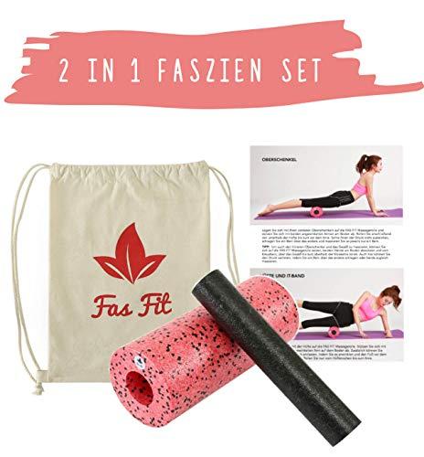 Faszien Fitness 2 in 1 Set: Faszienrolle + Mini-Rolle + Baumwoll-Turnbeutel + 16seitiges Trainingsheft in Farbe + eBook (Rot - 2 in 1)
